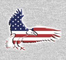AMERICAN, Eagle, America, Bald Eagle, Bird of Prey, War, American Flag, Stars & Stripes, America, USA,  One Piece - Long Sleeve