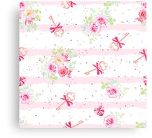 Delicate flowers and old keys with bows seamless vector pattern. Dotted pink on white backdrop with pink stripes. Canvas Print