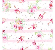 Delicate flowers and old keys with bows seamless vector pattern. Dotted pink on white backdrop with pink stripes. Photographic Print