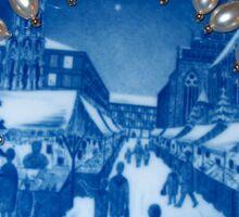 Royal Blue Copenhagen Plate Round Christmas Market Kirsten Christkindl Angel Delight Sticker