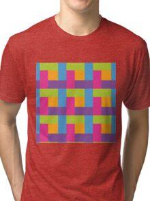 Bright Hue Block Pattern Tri-blend T-Shirt