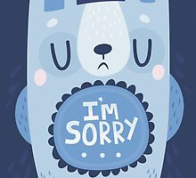 I'm Sorry Blue Bear Card by Claire Stamper