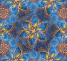 Blue and gold floral fractal design. Sticker