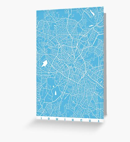 Birmingham map blue Greeting Card