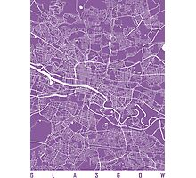 Glasgow map lilac Photographic Print
