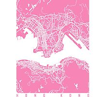 Hong Kong map Pink Photographic Print