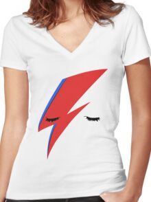 BOWIE ALADDIN SANE Women's Fitted V-Neck T-Shirt