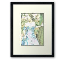 'Prom' - Girl in Shiny Sky Blue Dress Framed Print