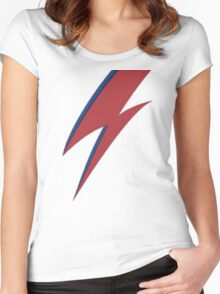 David Bowie's Face Bolt Women's Fitted Scoop T-Shirt
