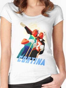 Cortina Vintage Italian travel ski winter sport Women's Fitted Scoop T-Shirt