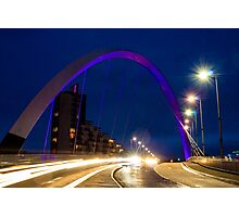 Glasgow Squinty Bridge at Night Photographic Print