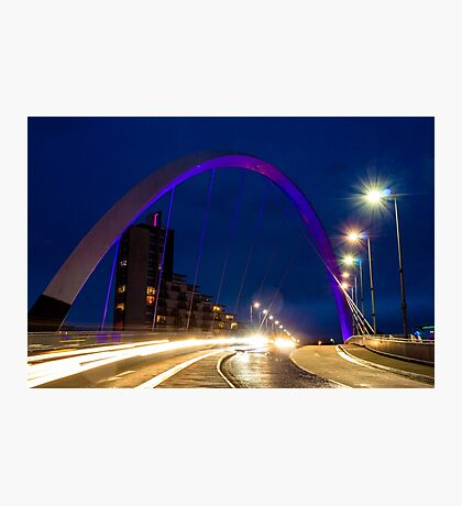 Glasgow Squinty Bridge at Night Photographic Print