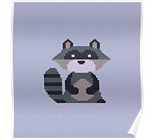 Knitting raccoon Poster