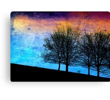 Trees in winter - blue version Canvas Print