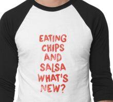Eating Chips and Salsa Watercolor Men's Baseball ¾ T-Shirt