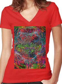 Abstract Animal Collective  Women's Fitted V-Neck T-Shirt