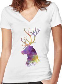 Reindeer 01 in watercolor Women's Fitted V-Neck T-Shirt