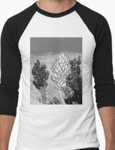 Alpinia purpurata – Red Ginger Flower - Black and White Greyscale Men's Baseball ¾ T-Shirt
