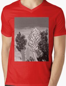 Alpinia purpurata – Red Ginger Flower - Black and White Greyscale Mens V-Neck T-Shirt