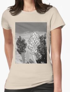 Alpinia purpurata – Red Ginger Flower - Black and White Greyscale Womens Fitted T-Shirt