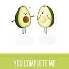 Avocados - 'You Complete Me' Happy Birthday Card by NerdCat