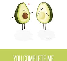 Avocados - 'You Complete Me' Happy Anniversary Card by NerdCat