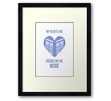 My Hearts are Bigger on the Inside Blue Framed Print