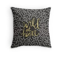 Wild at Heart – Gold on Black Throw Pillow