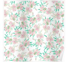 Pink white pastel watercolor lily floral pattern Poster