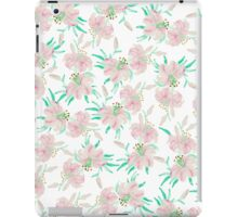 Pink white pastel watercolor lily floral pattern iPad Case/Skin