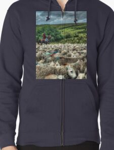 Herding sheep from horseback in Wales T-Shirt