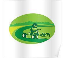 Go Kart Racing Oval Retro Poster