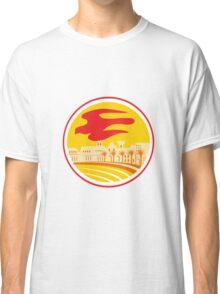 Peregrine Falcon Silhouette Oval Retro Classic T-Shirt