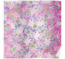 Hand painted pink white blue watercolor floral Poster