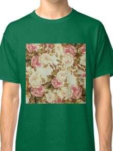 Chic vintage pink white brown roses floral pattern Classic T-Shirt