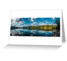 Panoramic view of Beauvert Lake in Jasper Greeting Card