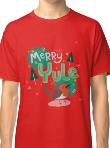 Merry Yule Robin Card Classic T-Shirt
