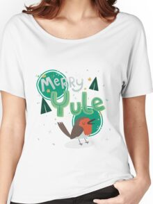 Merry Yule Robin Card Women's Relaxed Fit T-Shirt