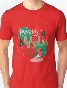 Merry Yule Robin Card Unisex T-Shirt