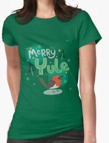 Merry Yule Robin Card Womens Fitted T-Shirt