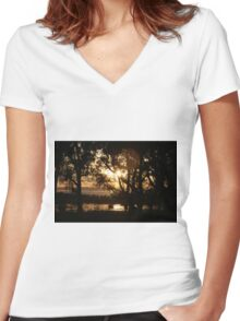 Trees at Dusk Women's Fitted V-Neck T-Shirt