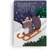 Christmas Reindeer Sledging On A Snowy Hill Canvas Print