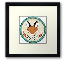 Foxy Fox Embroidery Style Patch Framed Print