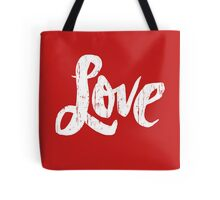 Bold Love Hand Lettering - Modern Distressed Calligraphy Word for Valentine - Red White Tote Bag