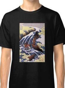'Waterfall and Horse Washing' by Katsushika Hokusai (Reproduction) Classic T-Shirt