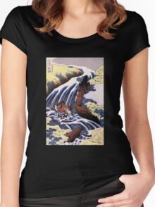 'Waterfall and Horse Washing' by Katsushika Hokusai (Reproduction) Women's Fitted Scoop T-Shirt