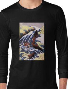 'Waterfall and Horse Washing' by Katsushika Hokusai (Reproduction) Long Sleeve T-Shirt