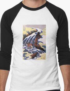 'Waterfall and Horse Washing' by Katsushika Hokusai (Reproduction) Men's Baseball ¾ T-Shirt