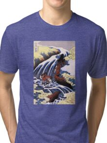 'Waterfall and Horse Washing' by Katsushika Hokusai (Reproduction) Tri-blend T-Shirt