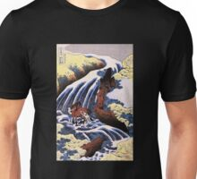 'Waterfall and Horse Washing' by Katsushika Hokusai (Reproduction) Unisex T-Shirt